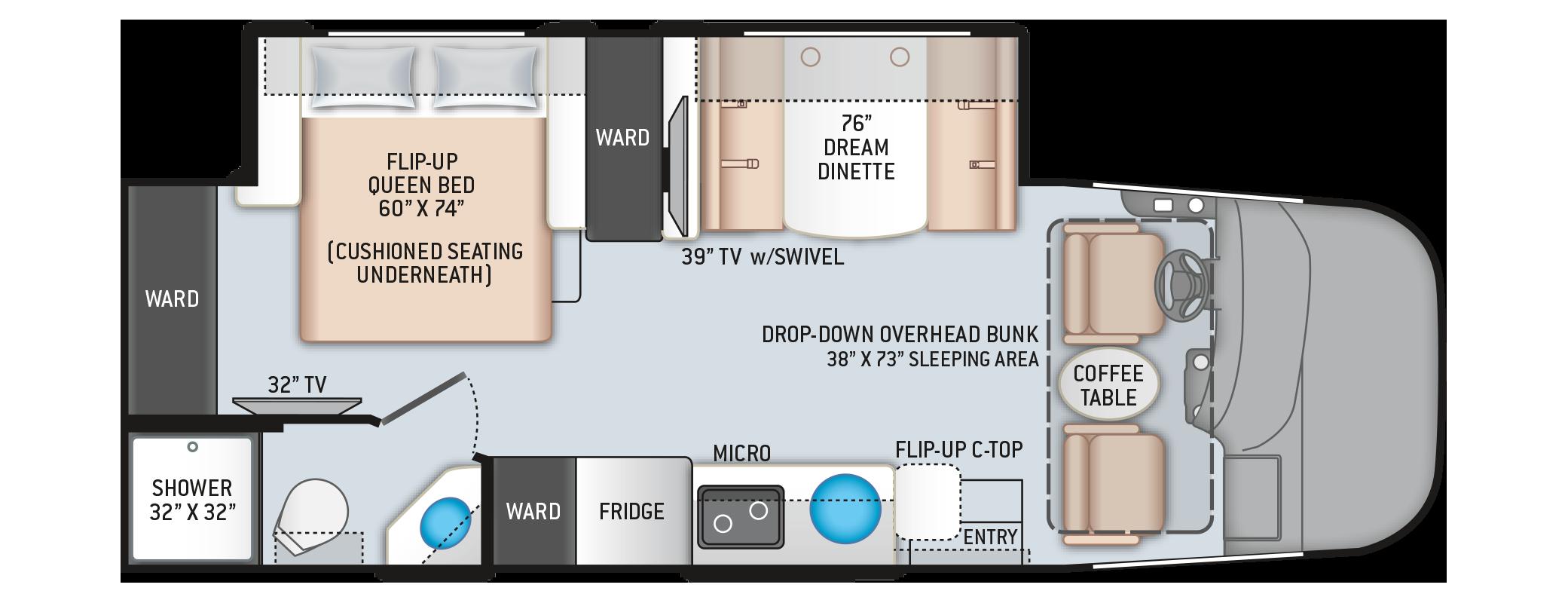 Vegas RUV Class A Motorhome 25.6 Floor Plan