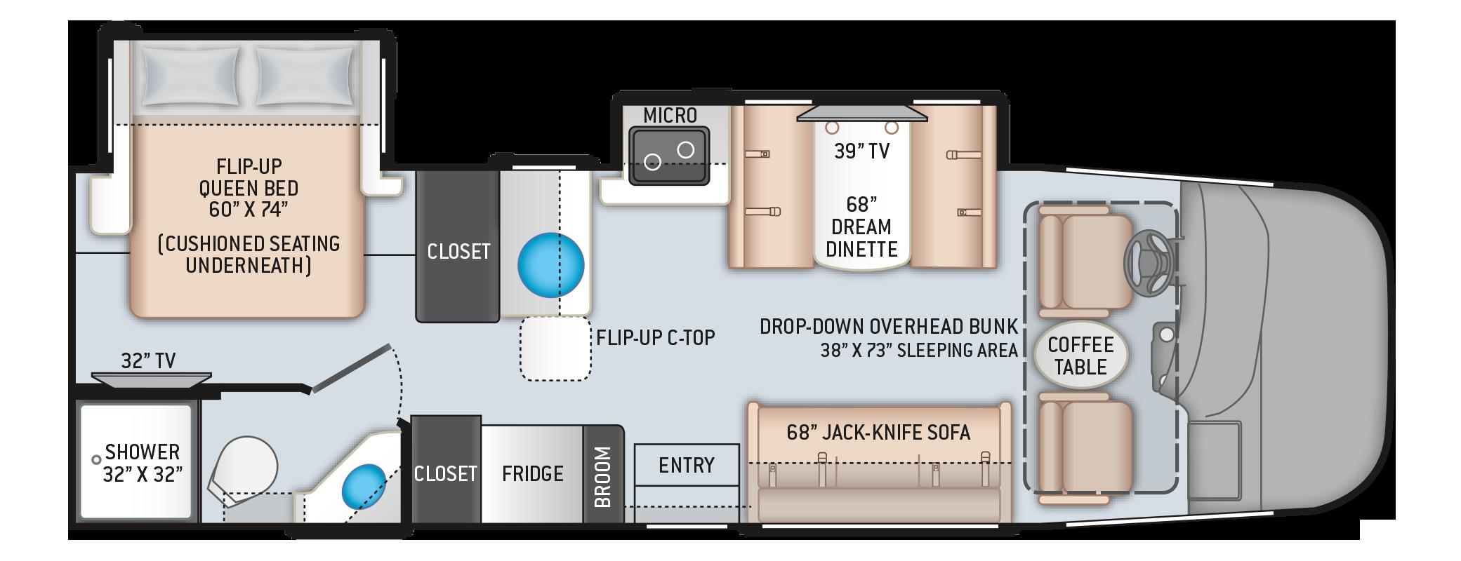 Vegas RUV Class A Motorhome 27.7 Floor Plan