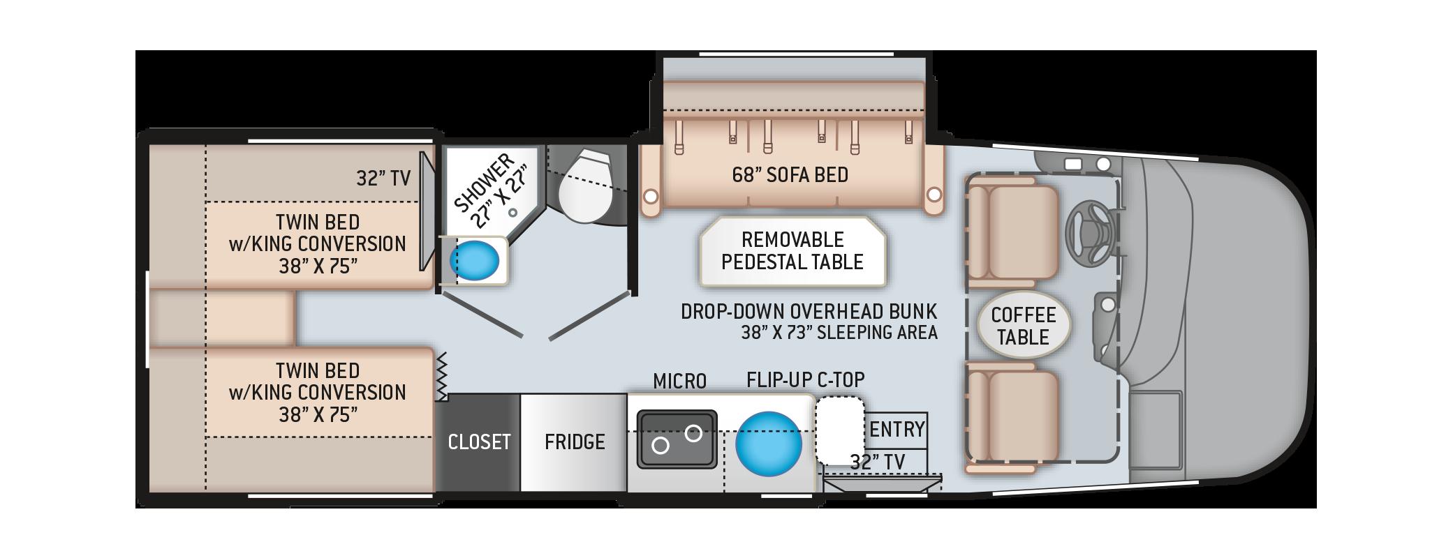 Vegas RUV Class A Motorhome 24.1 Floor Plan
