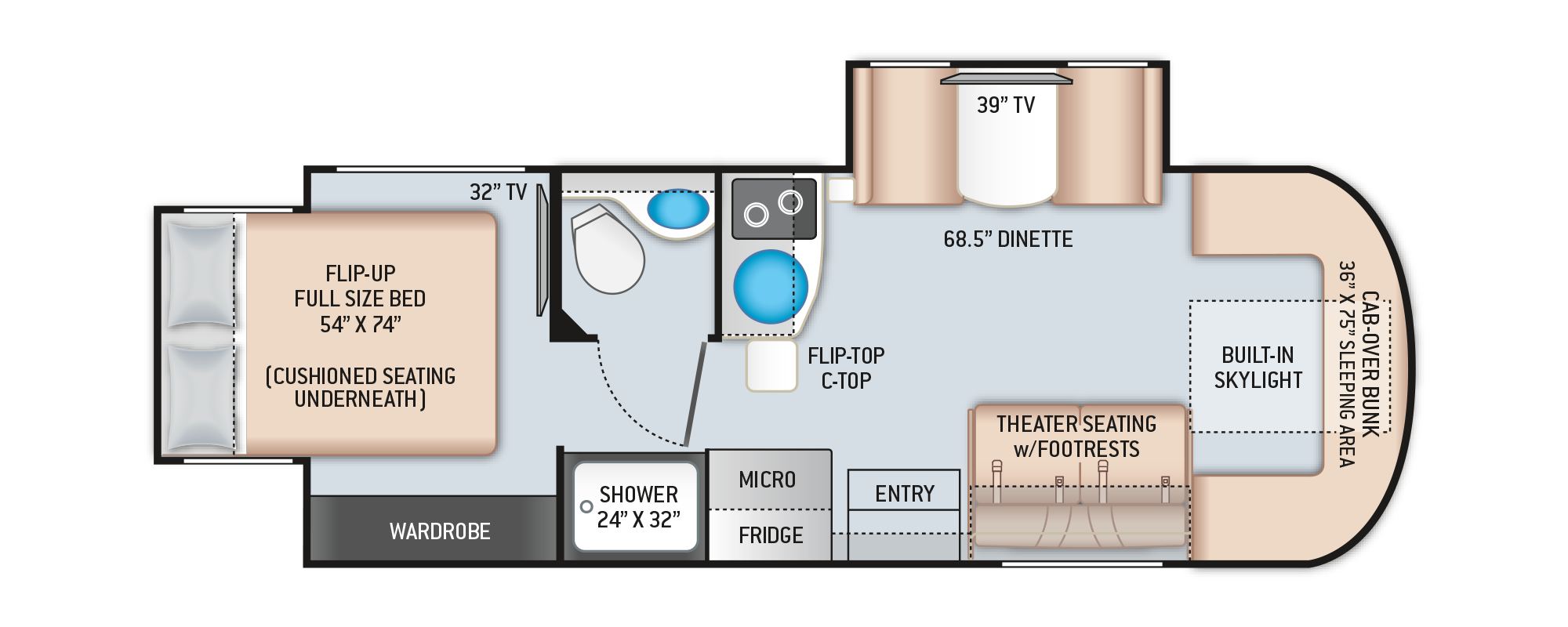 Tiburon Mercedes Sprinter RV 24RW Floor Plan