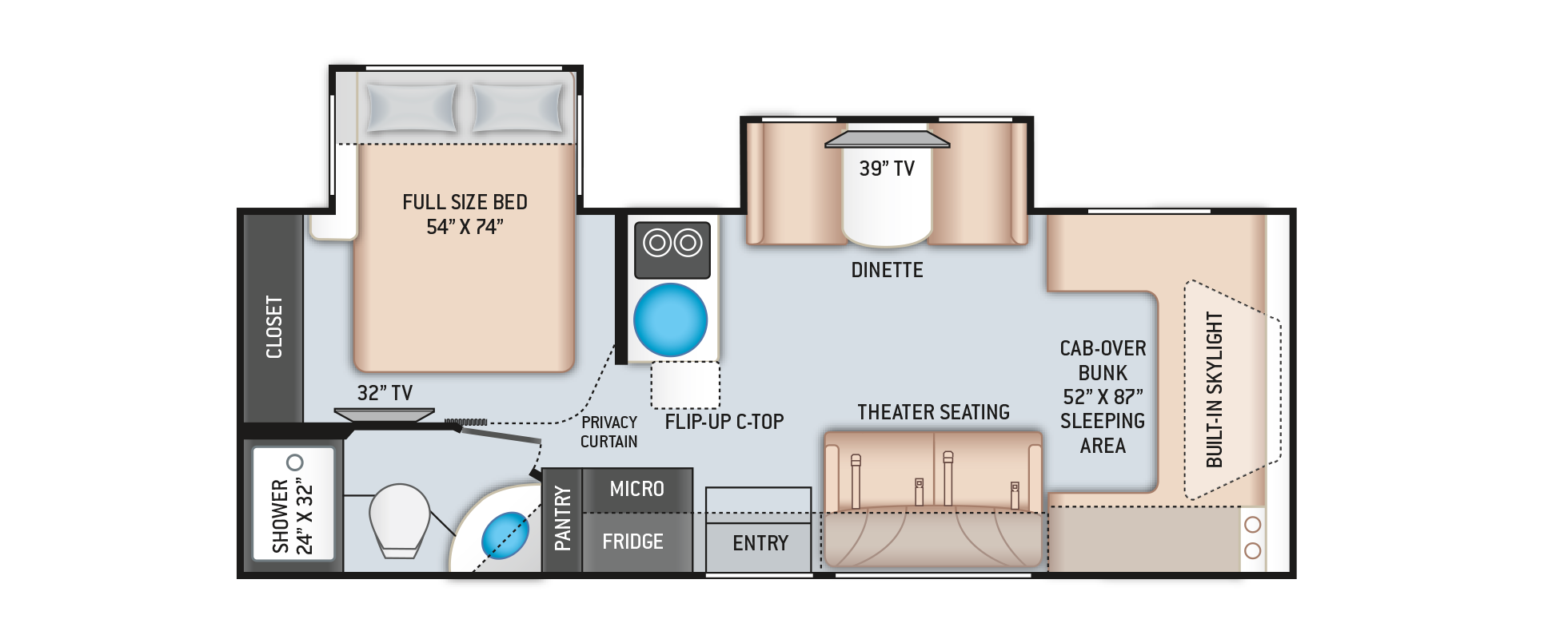 Quantum Mercedes Sprinter RV CR24 Floor Plan