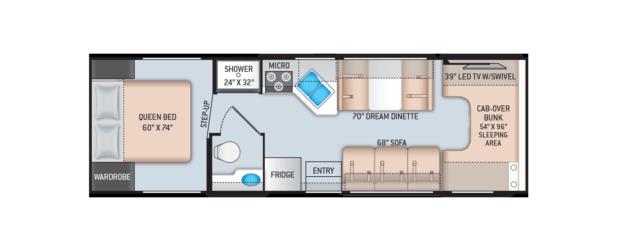 Chateau Class C Motorhome 28A Floor Plan