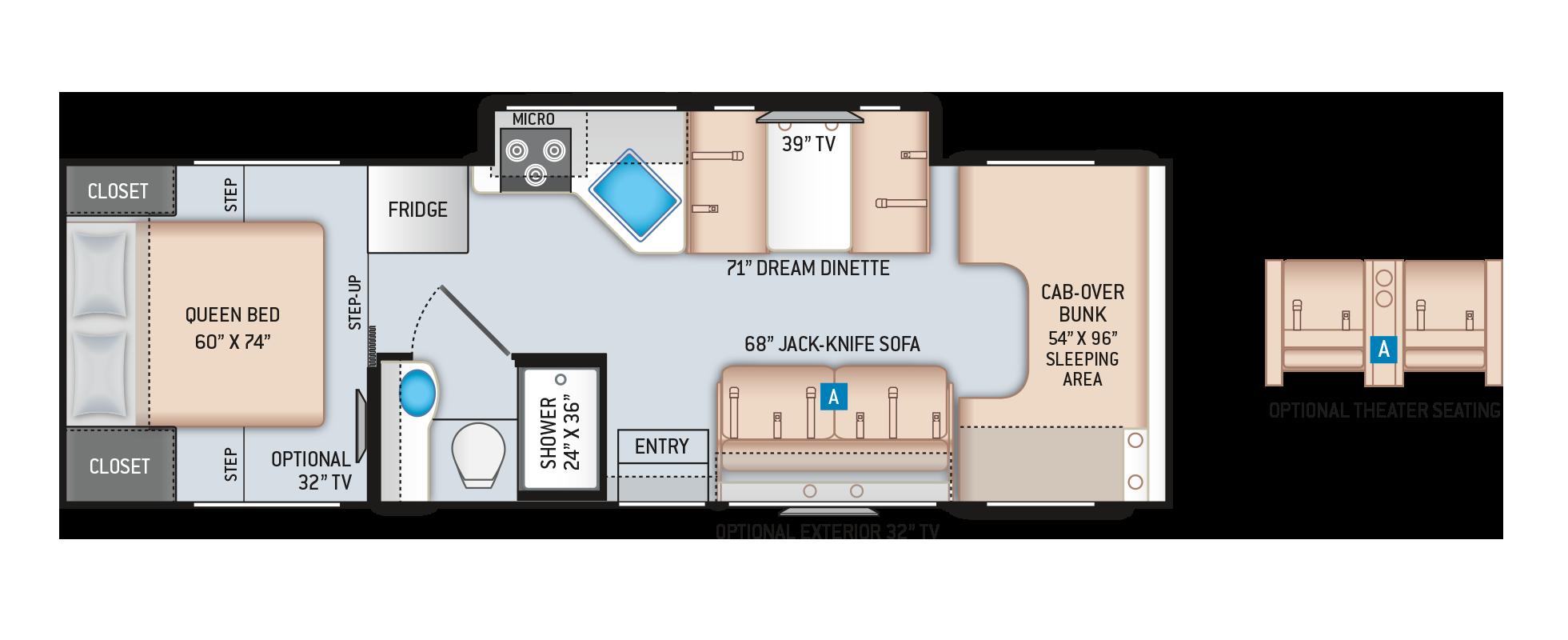 Chateau Class C Motorhome 28Z Floor Plan