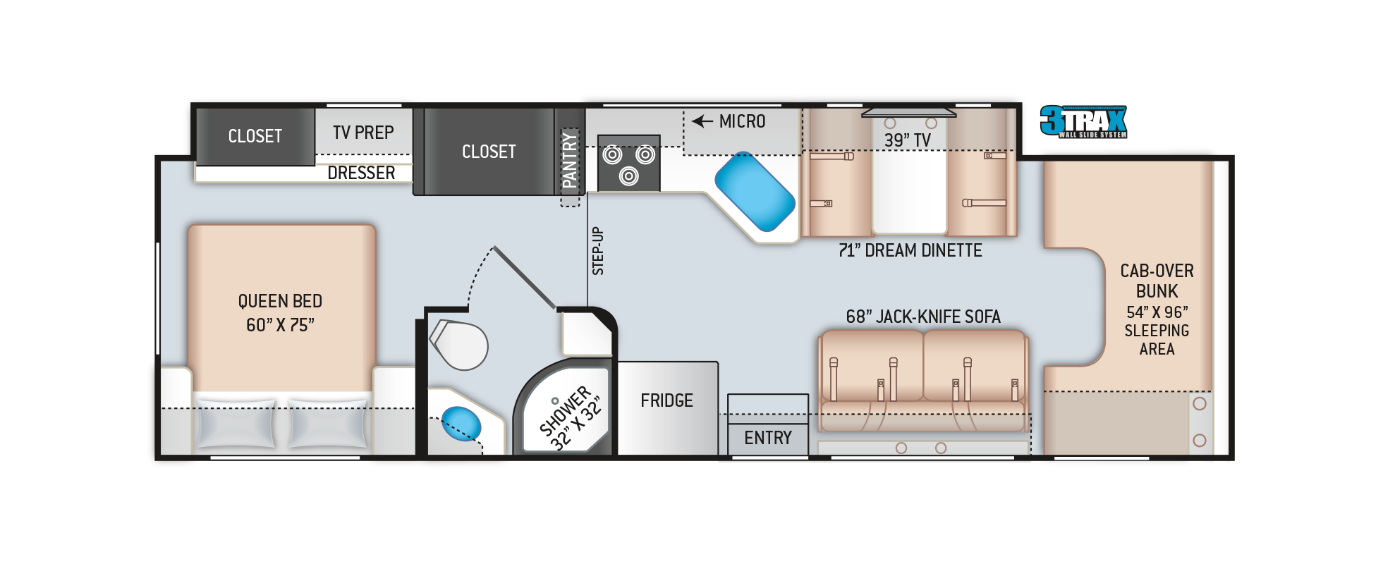 Four Winds Class C Motorhome 31WV Floor Plan