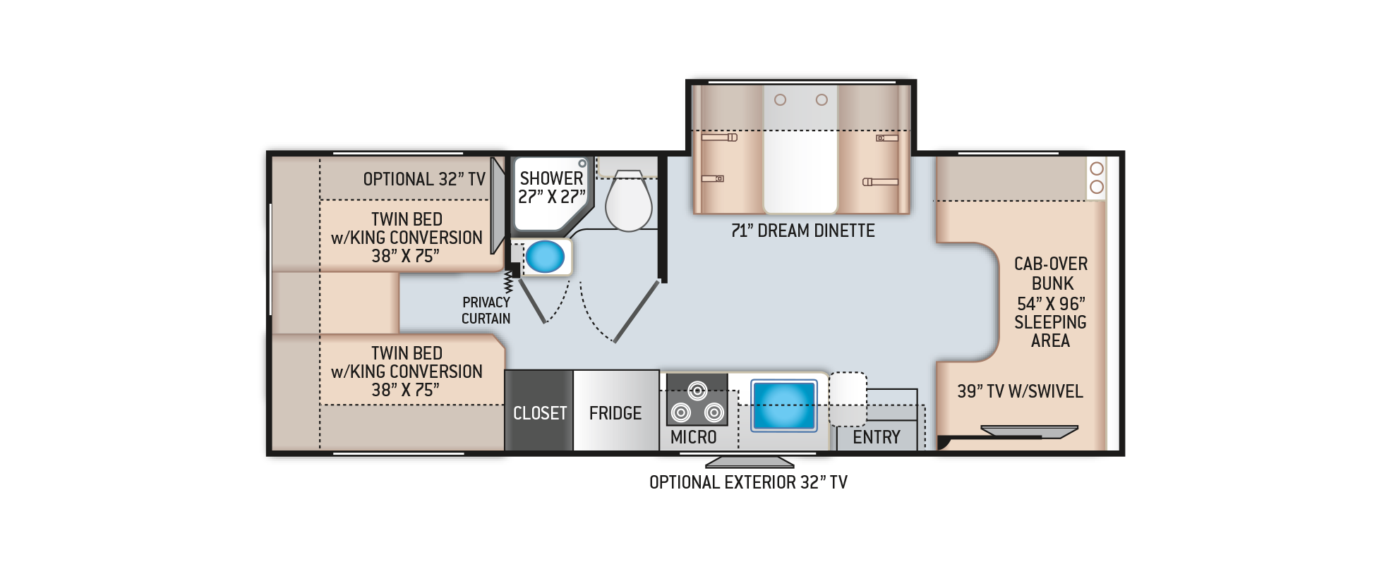 Four Winds Class C Motorhome 25V Floor Plan