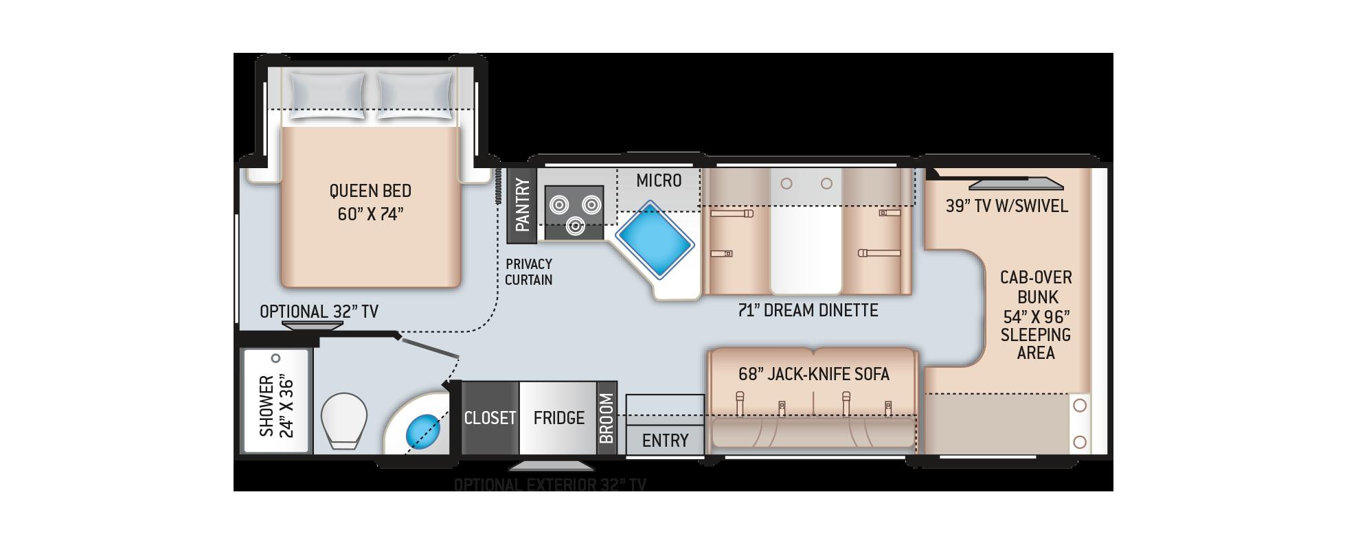Four Winds Class C Motorhome 26B Floor Plan