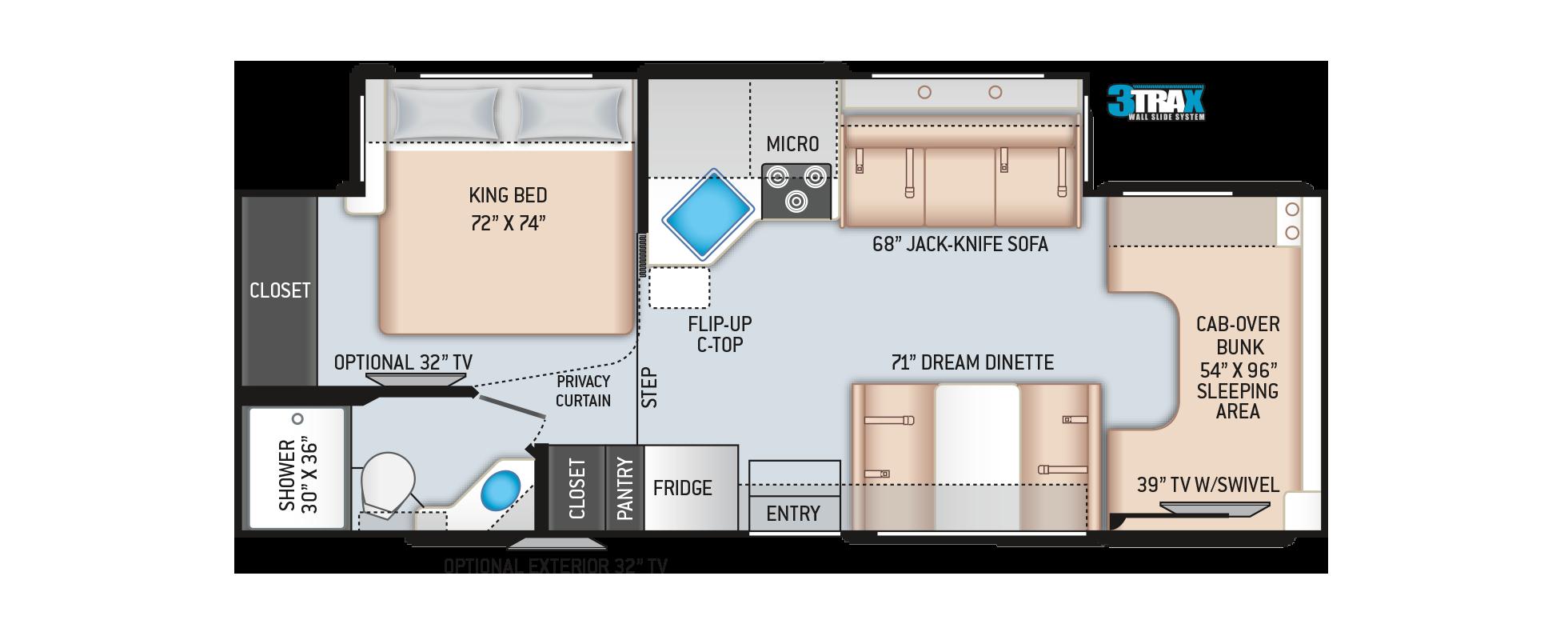Four Winds Class C Motorhome 27R Floor Plan