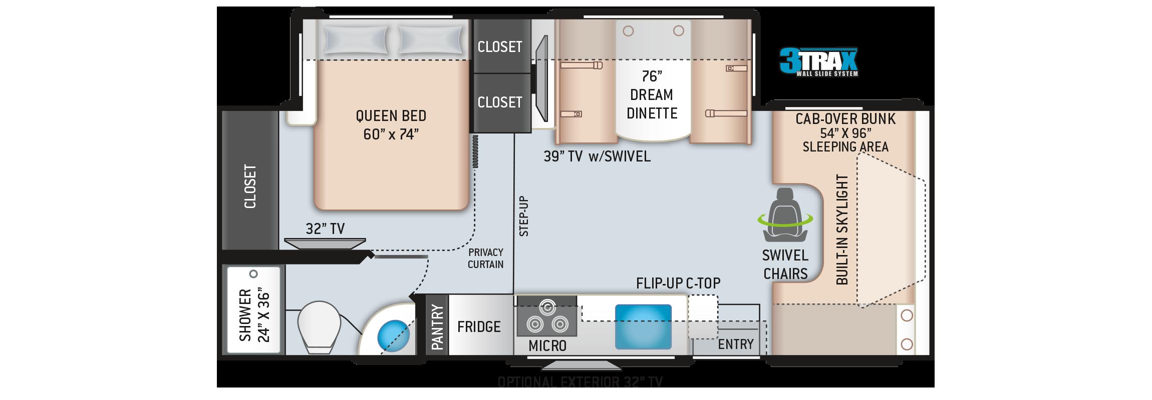 Quantum Class C Motorhome RC25 Floor Plan