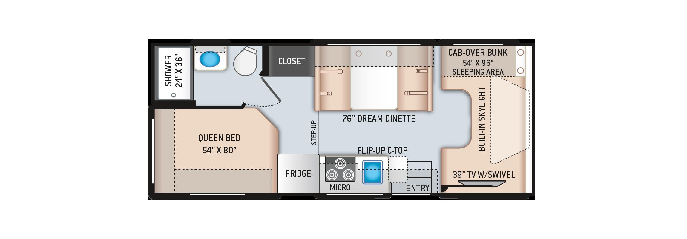 Quantum LC Class C Motorhome LC22 Floor Plan