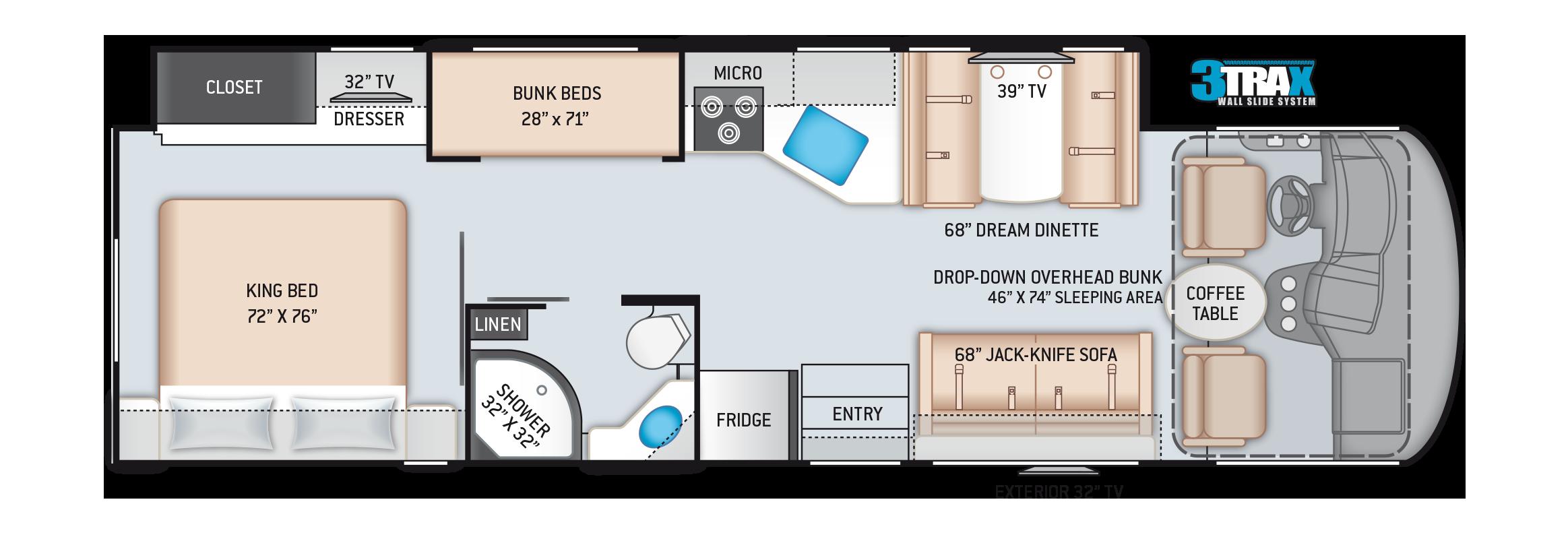 A.C.E. Class A Motorhome 32.3 Floor Plan