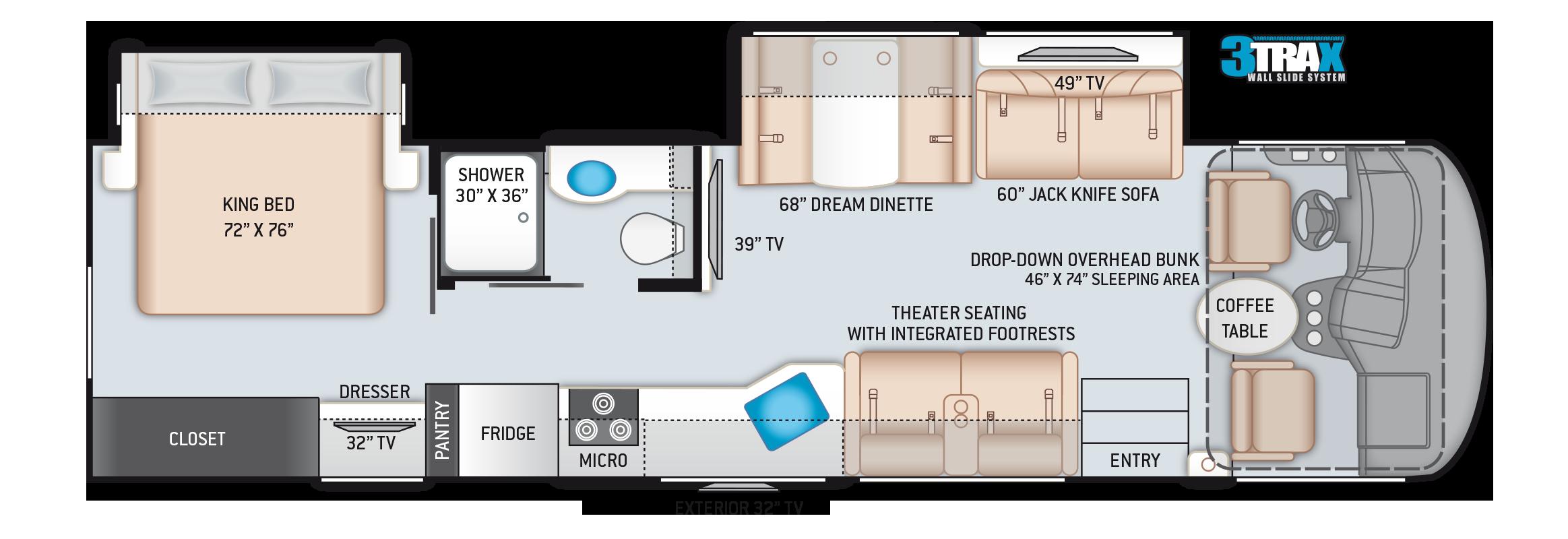 A.C.E. Class A Motorhome 33.1 Floor Plan