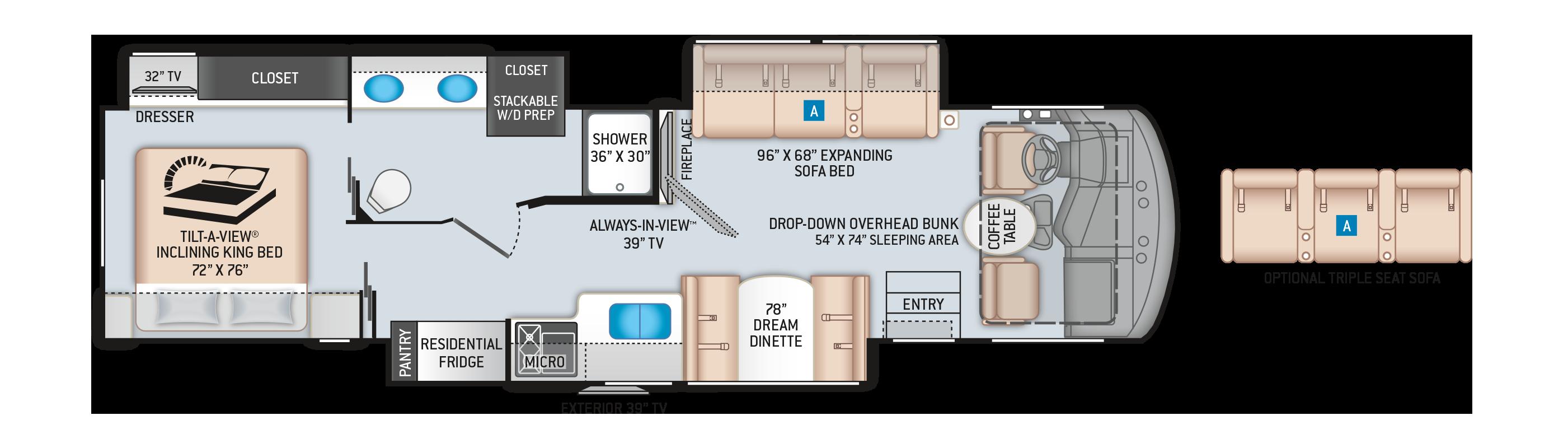 Challenger Class A Motorhome 37YT Floor Plan