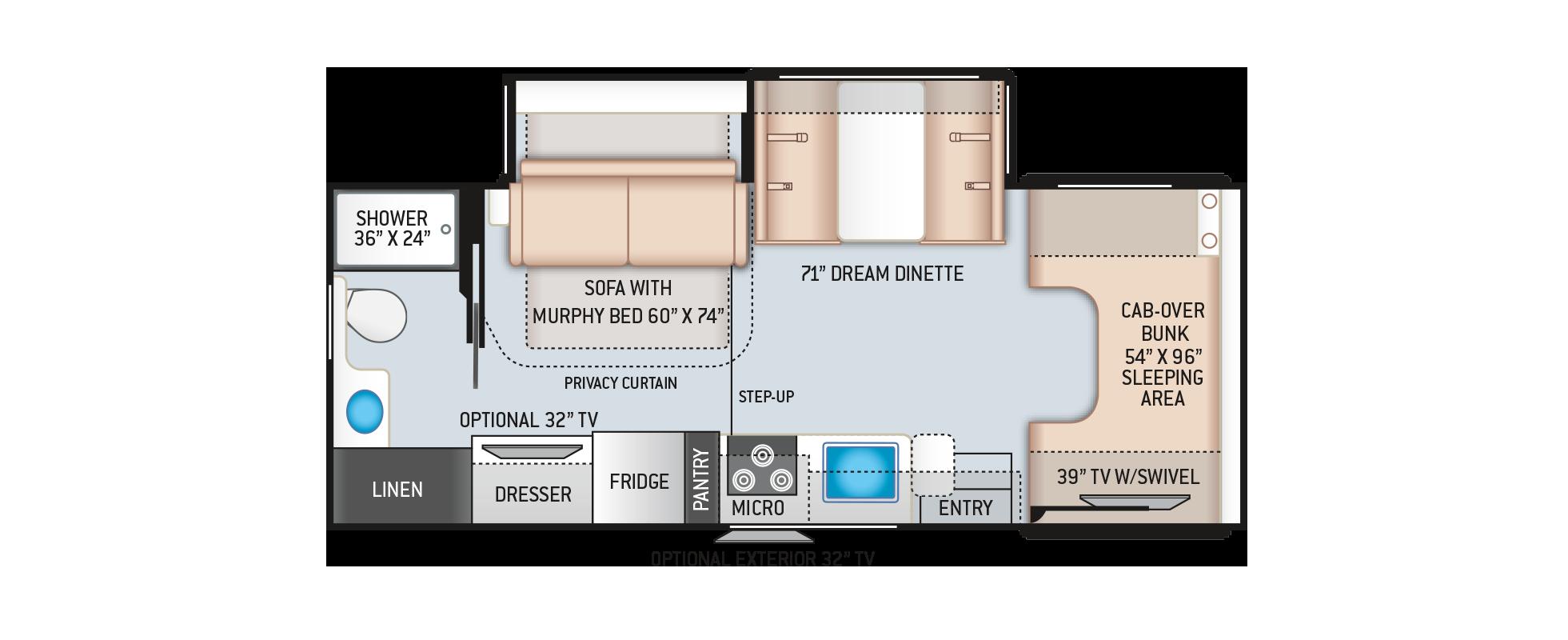 Chateau Class C Motorhome 25M Floor Plan