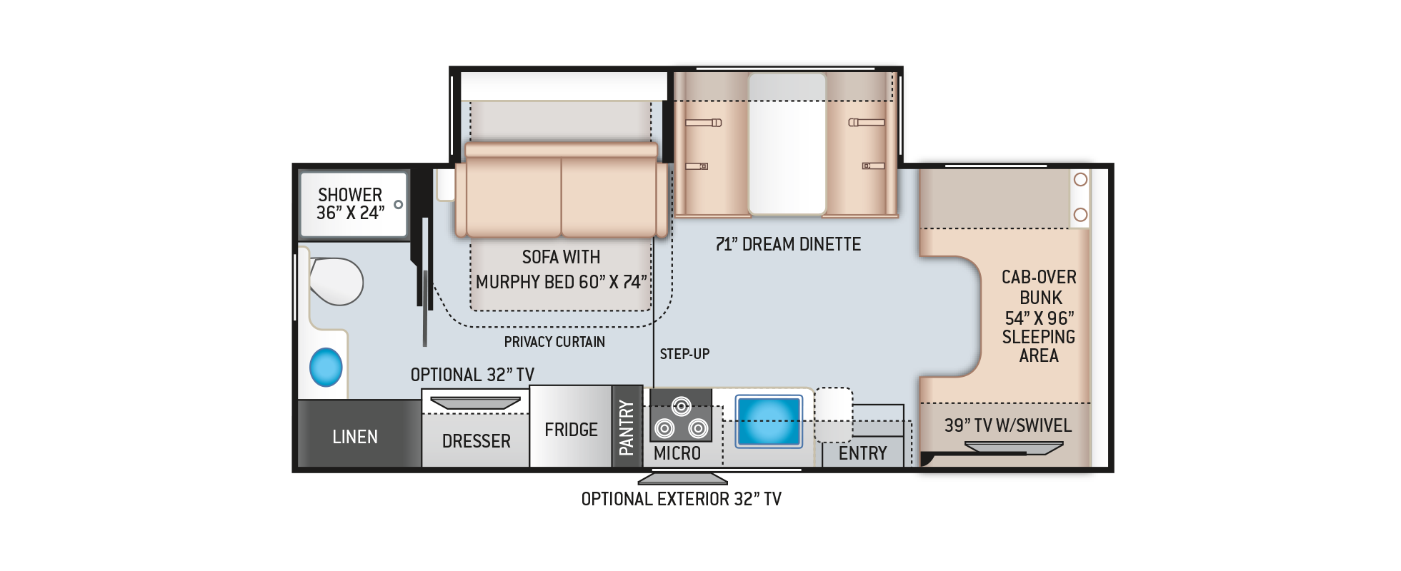 Four Winds Class C Motorhome 25M Floor Plan