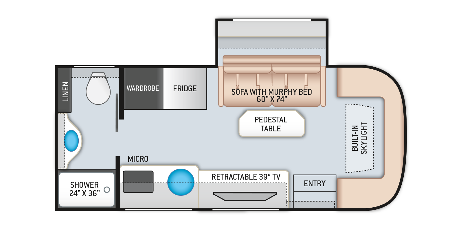 Compass AWD Class B Plus RV 23TE Floor Plan
