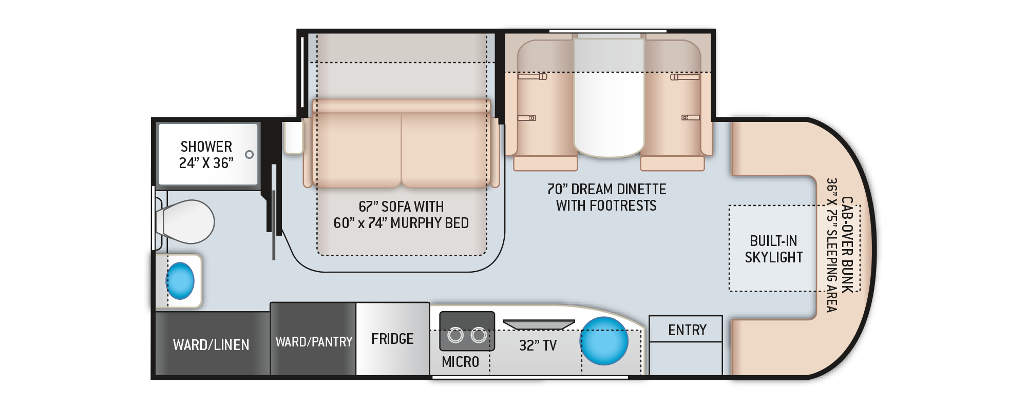 Delano Mercedes Sprinter RV 24FB Floor Plan