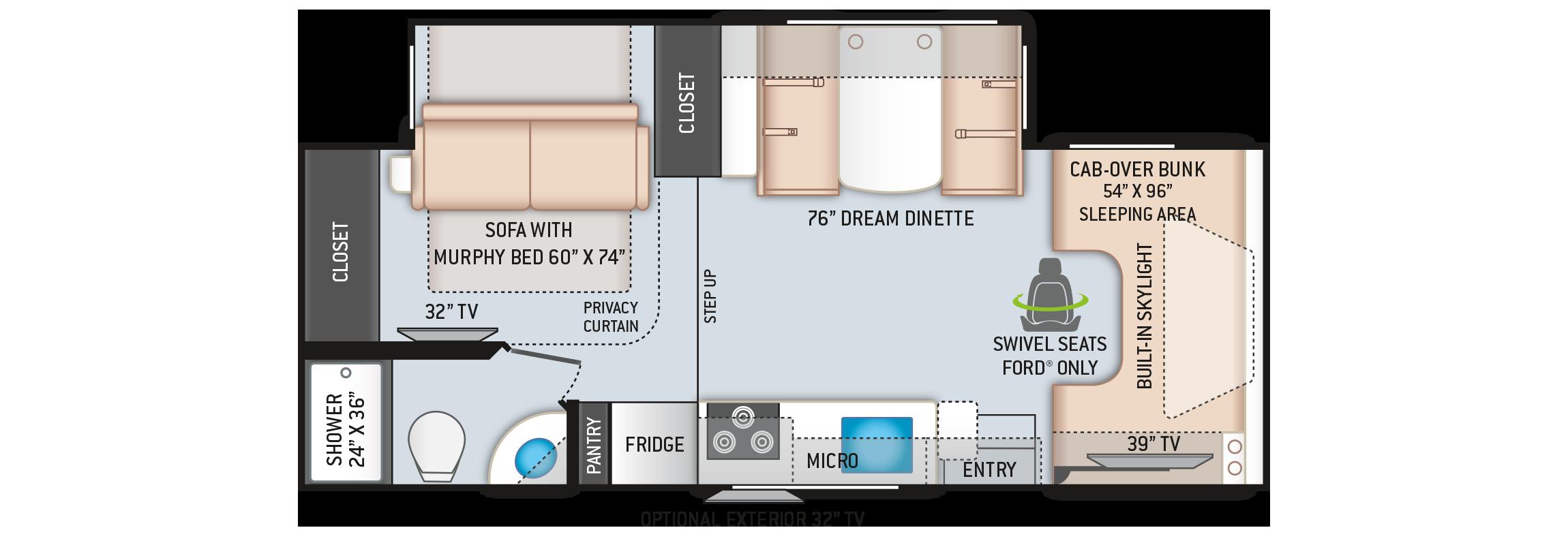 Quantum Class C RV GS27 Floor Plan