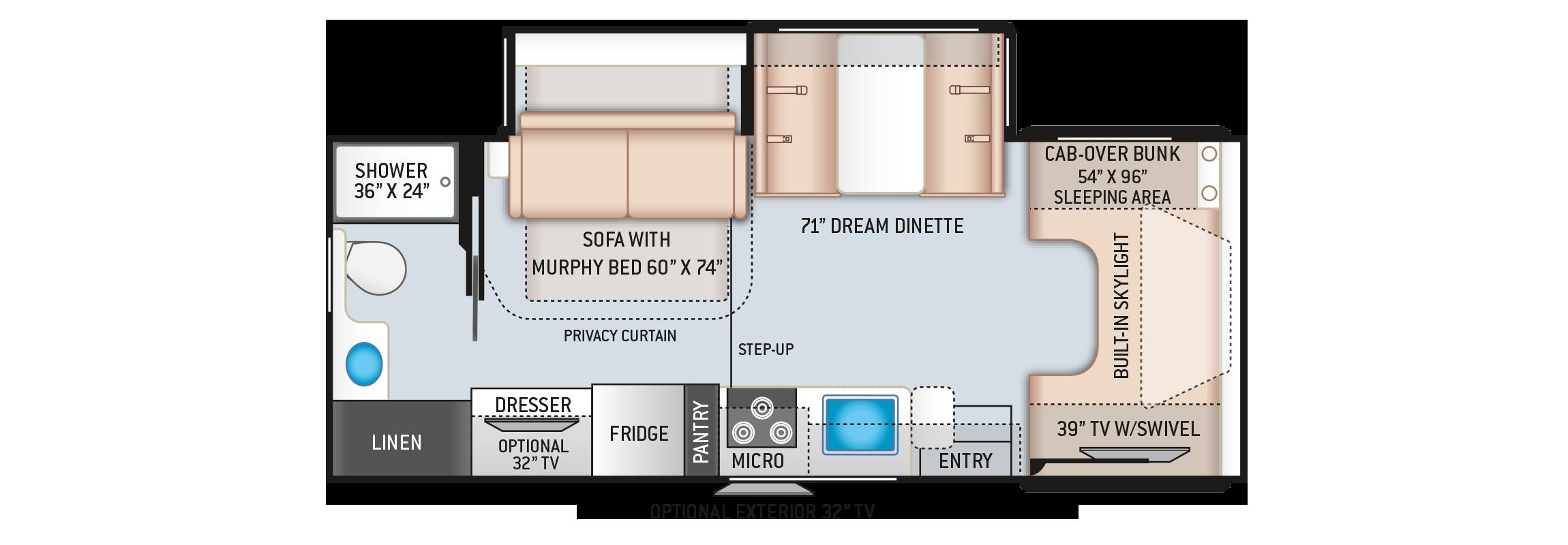 Quantum Class C RV LC25 Floor Plan