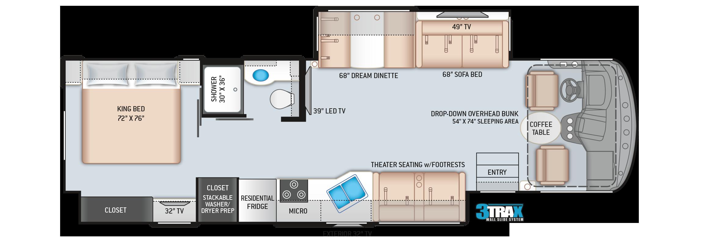 Hurricane Class A Motorhome 34R Floor Plan