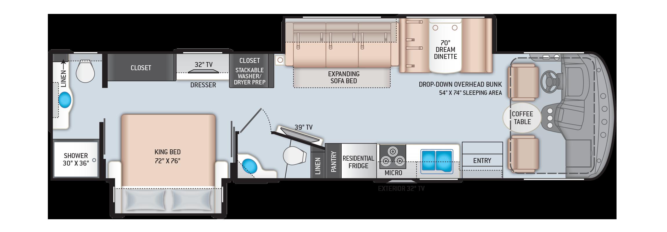 Hurricane Class A Motorhome 35M Floor Plan