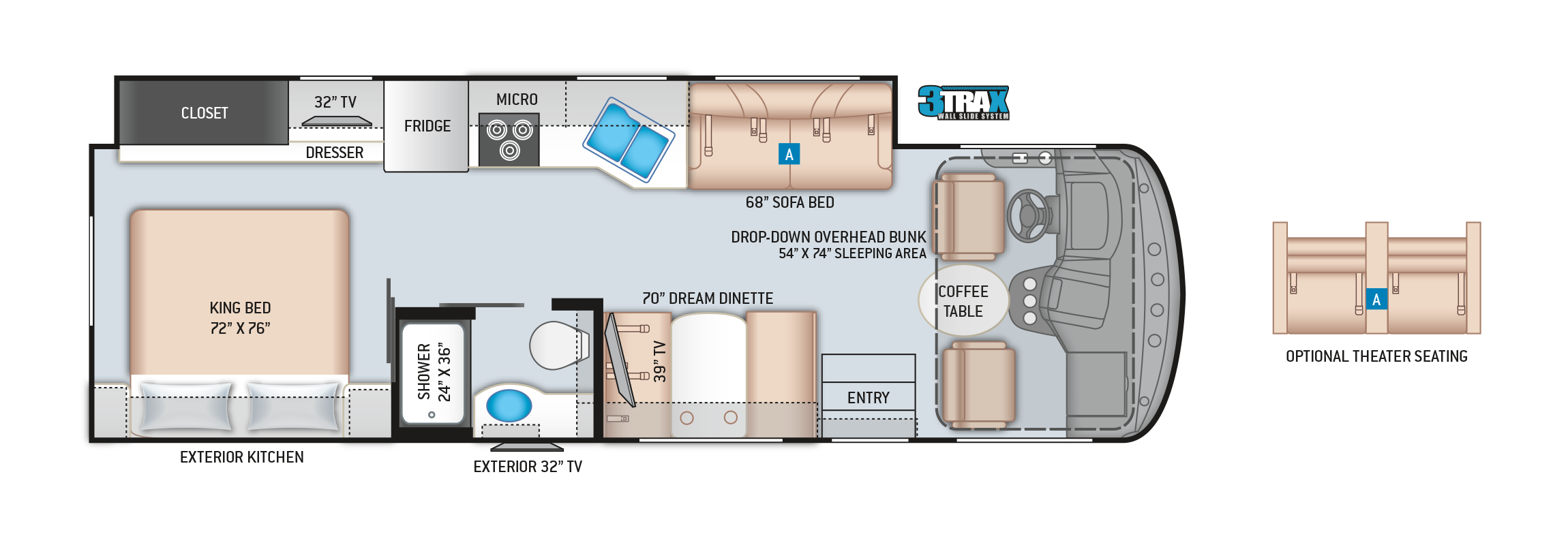 Hurricane Class A Motorhome 29M Floor Plan