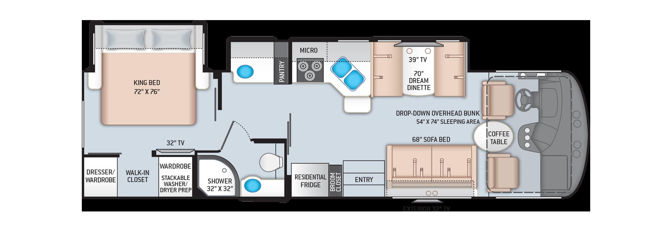 Hurricane Class A Motorhome 31C Floor Plan