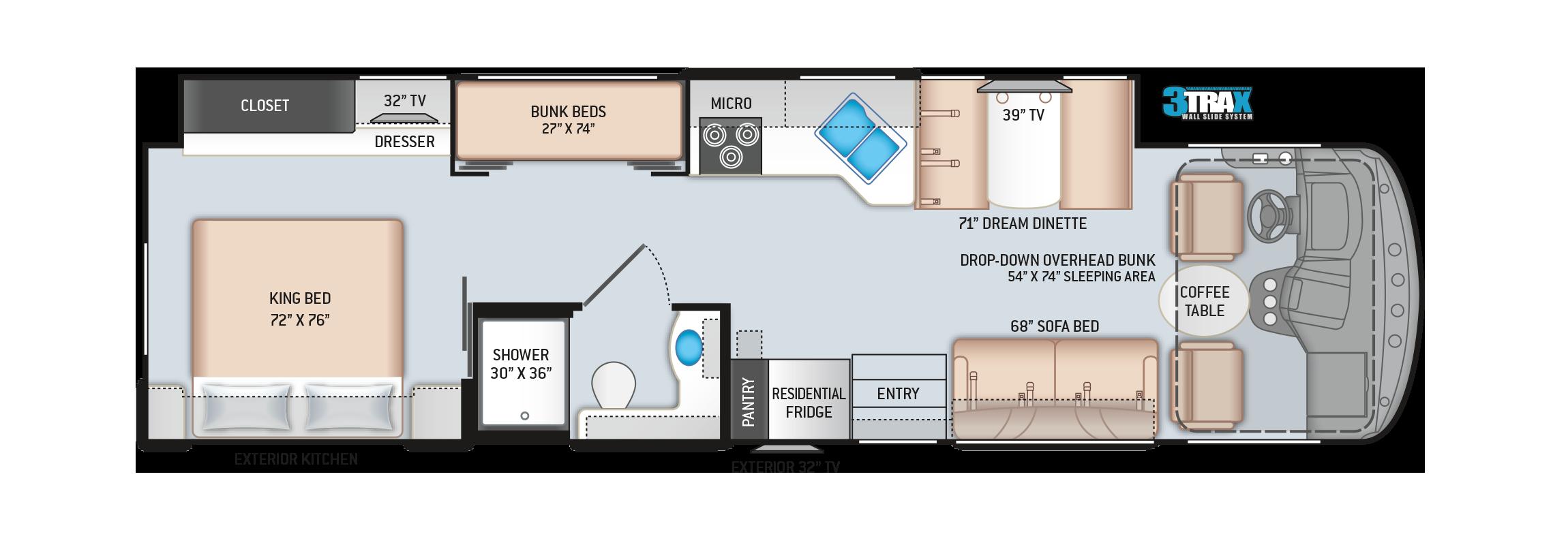 Hurricane Class A Motorhome 34J Floor Plan