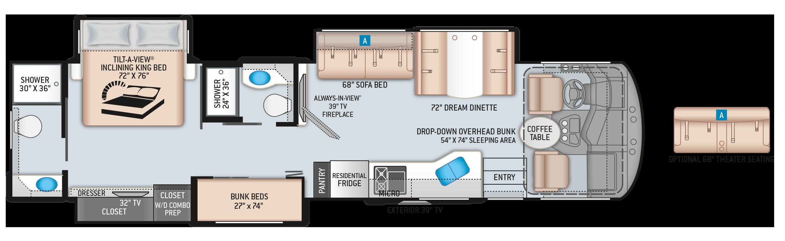 Miramar Class A Motorhome 37.1 Floor Plan