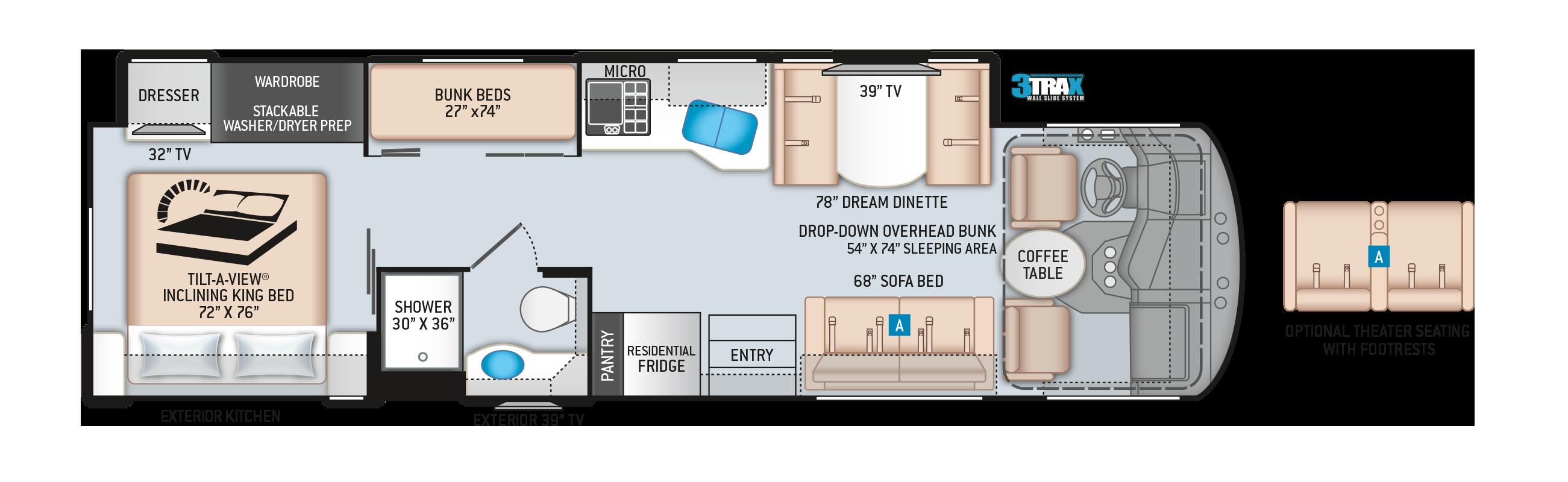 Miramar Class A Motorhome 34.6 Floor Plan