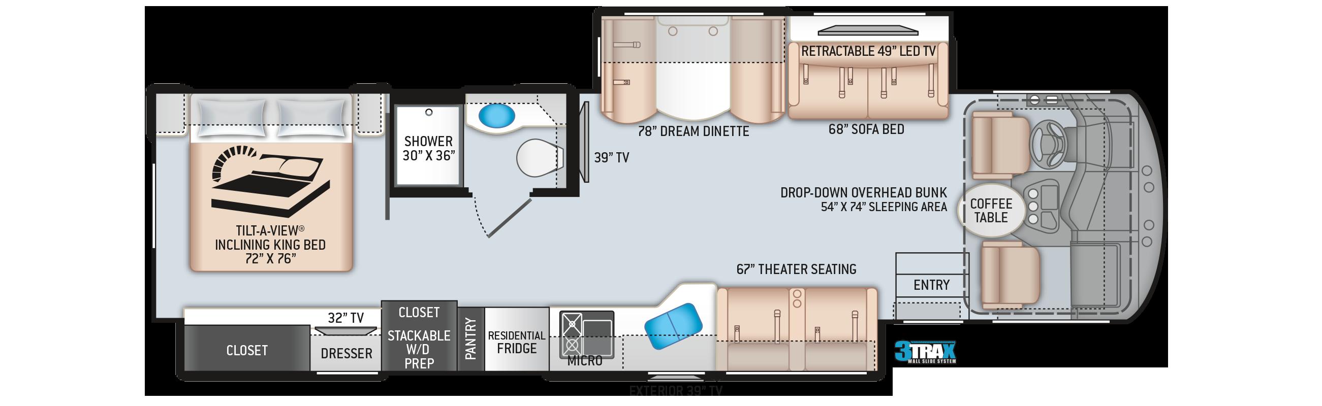 Miramar Class A Motorhome 35.2 Floor Plan