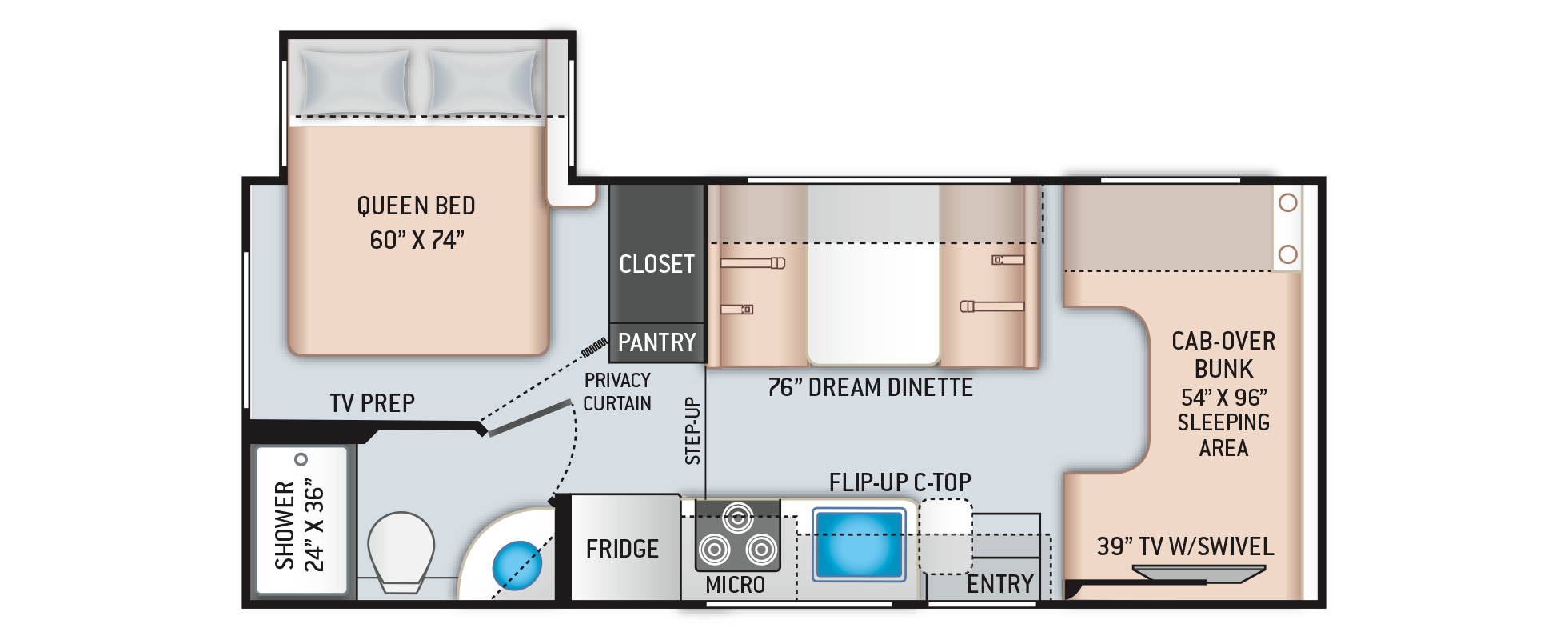 Freedom Elite Class C RV 22FE Floor Plan