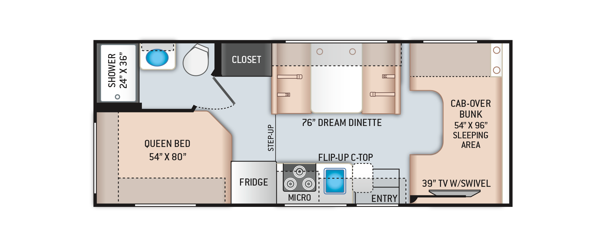 Freedom Elite Class C RV 22HE Floor Plan