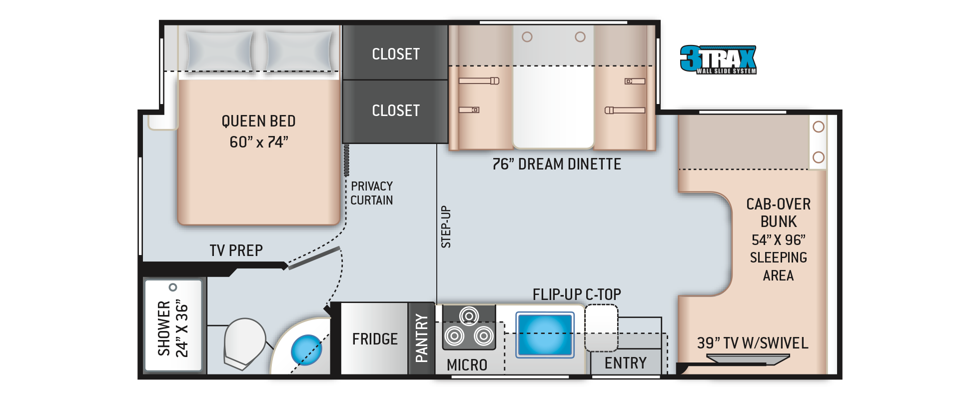 Freedom Elite Class C RV 24HE Floor Plan