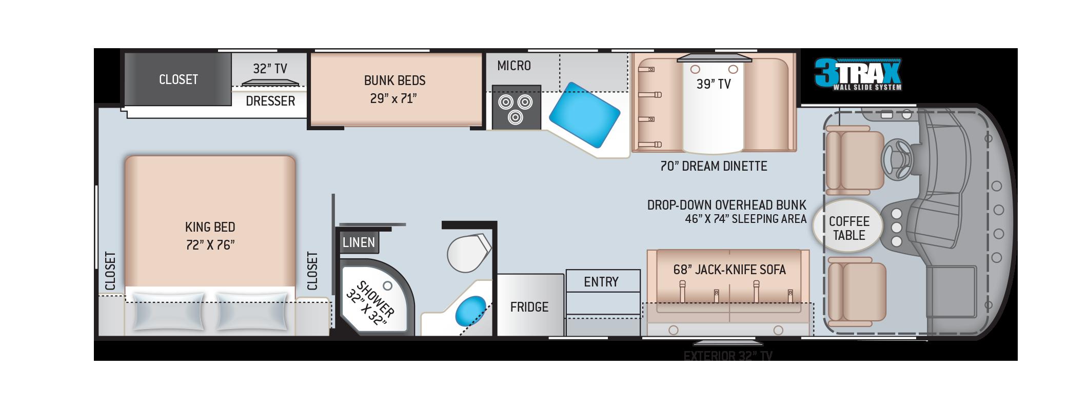 Freedom Traveler Class A RV A32 Floor Plan