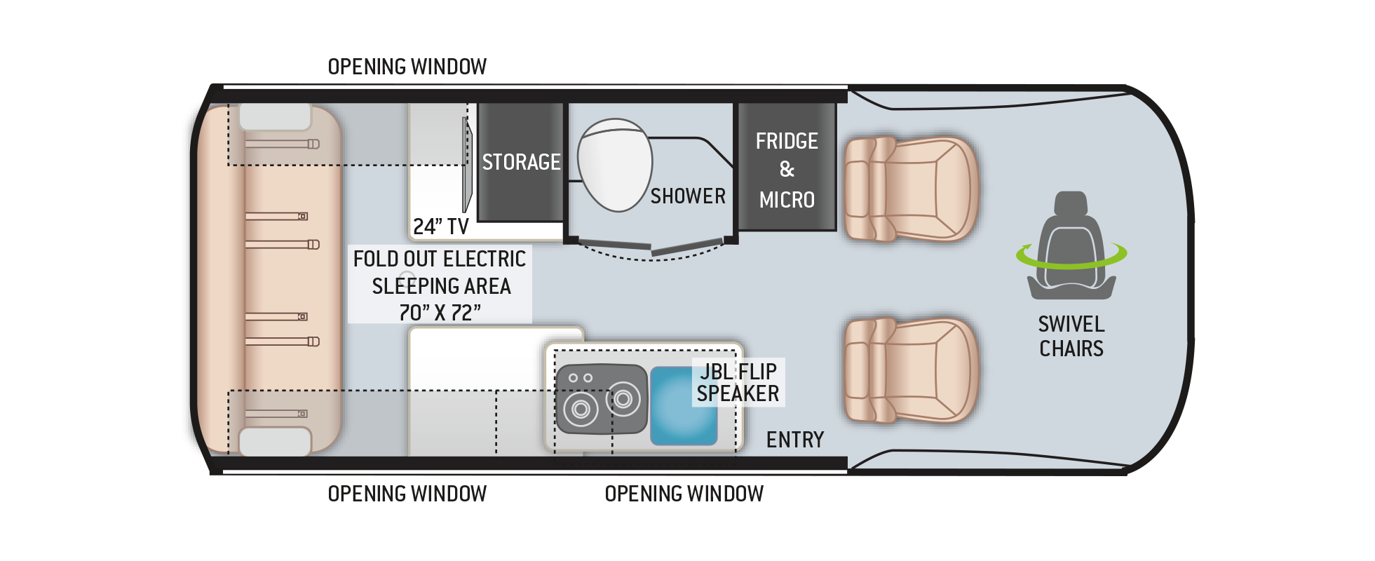 Thor Sanctuary Sprinter Van 19P Floor Plan
