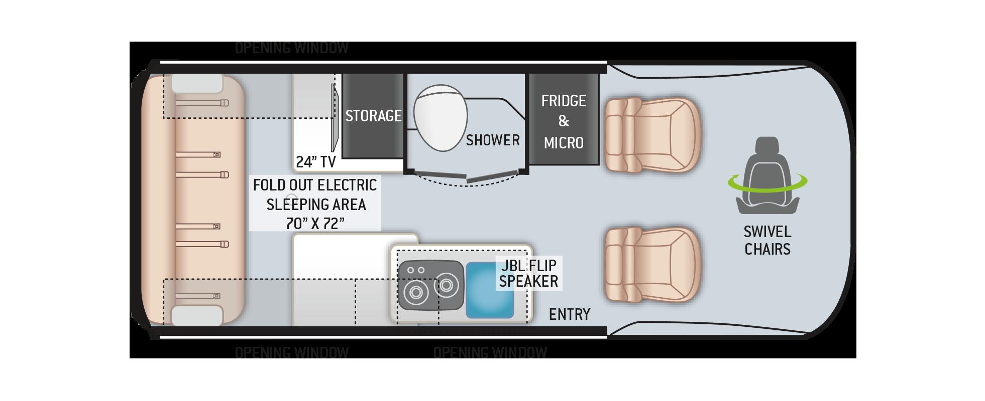 Thor Tranquility Sprinter Van 19P Floor Plan