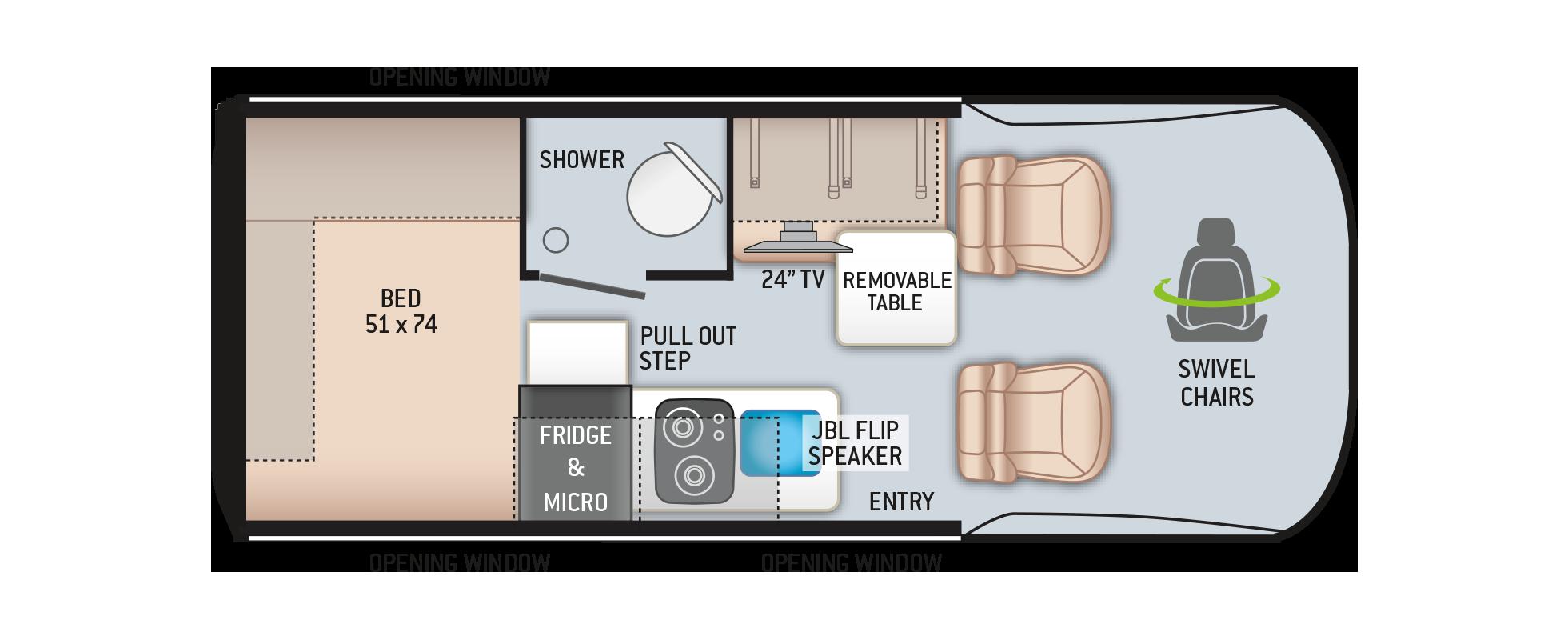 Thor Tranquility Sprinter Van 19L Floor Plan