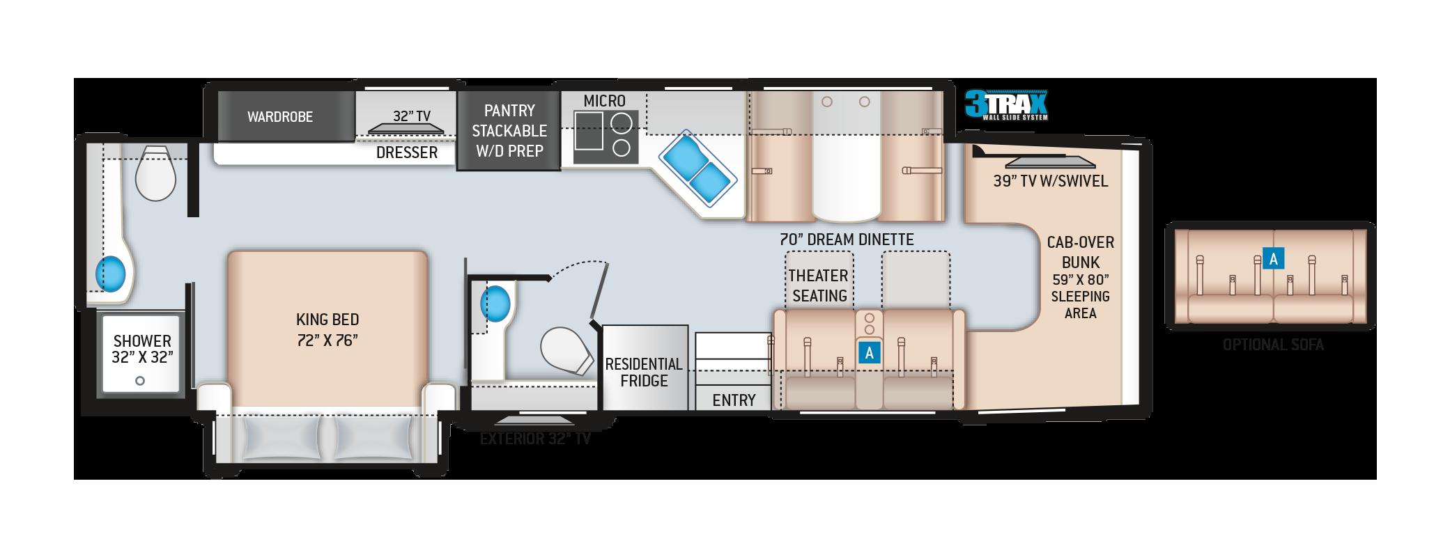 Thor Omni Super C Diesel Motorhome BT36 Floor Plan