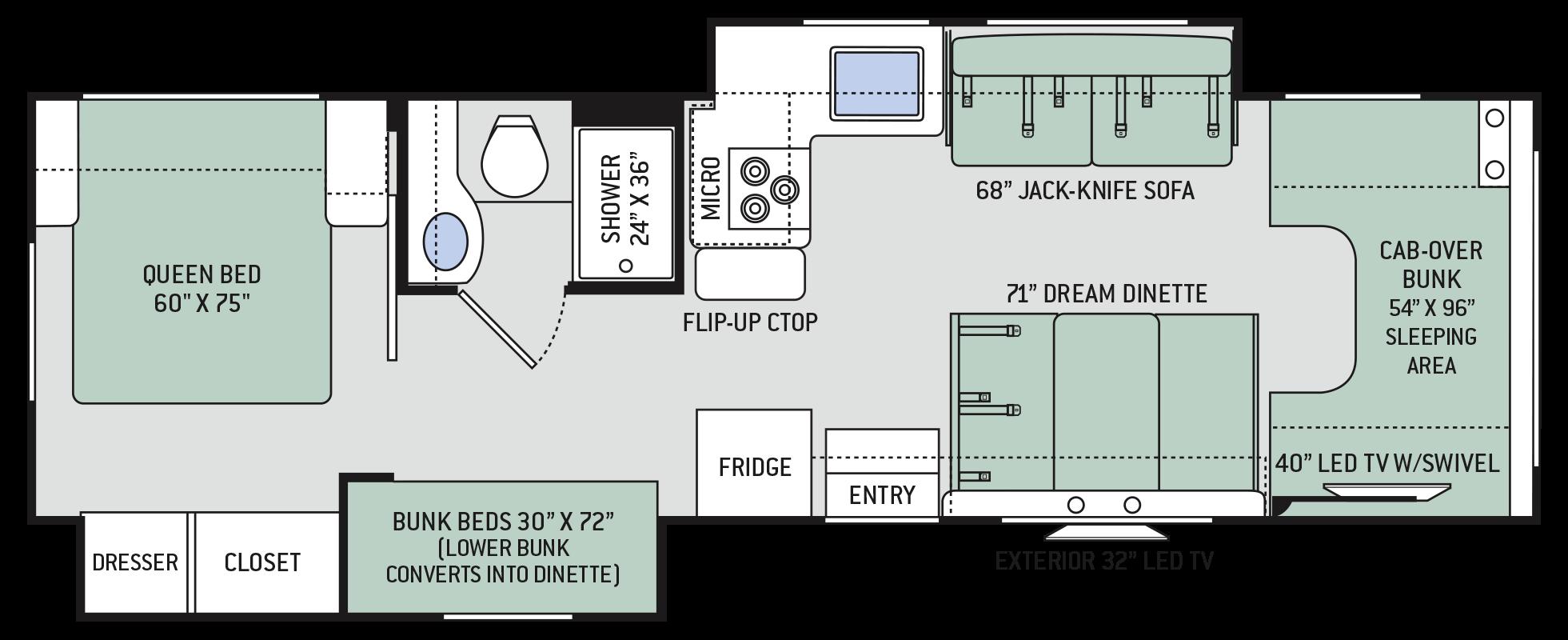 Freedom Elite Class C Motorhomes Floor Plan 30fe Thor