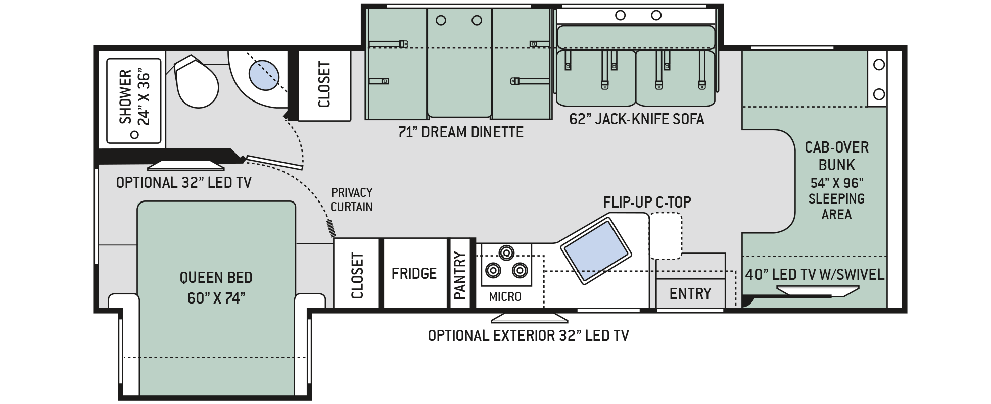 Floor plans chateau 28e for Chateau rv floor plans